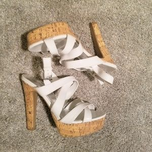 City Streets Stappy White High Heels